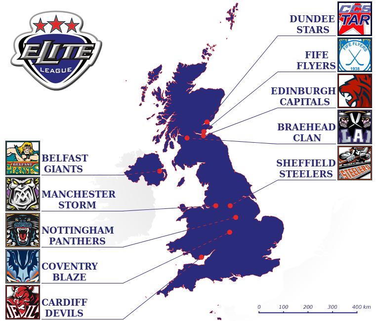 Карта расположения клубов Британской элитной лиги
